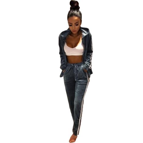 Conjunto de dos piezas de las mujeres con capucha sudadera con capucha pantalones rayas manga larga cremallera cintura elástica ropa deportiva casual pantalones superiores