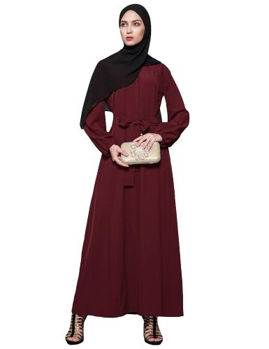Женщины мусульманского платья сплошной цвет с длинным рукавом Abaya Kaftan Исламская арабская мантия Maxi Long Belted Dress Burgundy