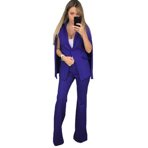 Pantaloni lunghi casuali del pantalone del rivestimento del cappotto del rivestimento del cappotto del rivestimento del cappotto delle donne due pezzi del capo