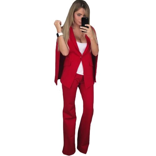 Mujeres Conjunto de dos piezas chaqueta del cabo Blazer solapa de campana Pantalones inferiores Pantalones largos casuales capa sólida abrigo Traje Ropa de trabajo prendas de vestir exteriores blanco / azul / rojo