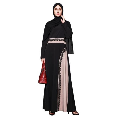 Las mujeres musulmanas más tamaño maxi vestido de ganchillo de encaje empalme O cuello mangas largas Abaya traje islámico Kaftan turco vestido largo