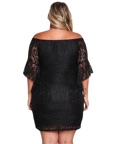 Vestido de encaje de las mujeres atractivas más el tamaño de la manga de campana de hombro Slash cuello Bodycon Mini vestido de fi