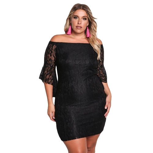 Sexy Women Lace Dress Plus rozmiar Off Shoulder Bell Sleeve Slash Neck Bodycon Mini Sukienka Oversize Party Clubwear