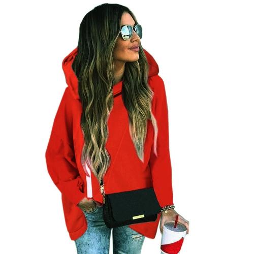 Otoño invierno mujer con capucha suéter mangas largas alto-bajo dobladillo cremallera ocasional sudaderas sueltas Top