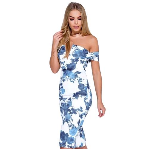 Nueva Sexy Women Floral Print vendaje vestido Midi fuera del hombro profundo con cuello en V partido de Split noche Club Party vestido ajustado