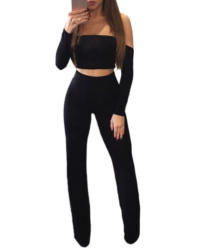 Moda Mulheres Off Shoulder Conjunto de duas peças Sexy Lace Up Back Long Sleeve Wide Legs Party Club Suit Crop Top + Pants