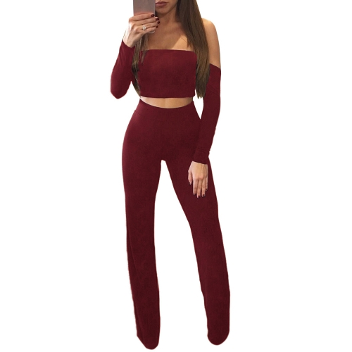 Mujeres de la manera del hombro de dos piezas Set Sexy Lace Up Volver manga larga piernas anchas Party Club Suit Crop Top + Pants