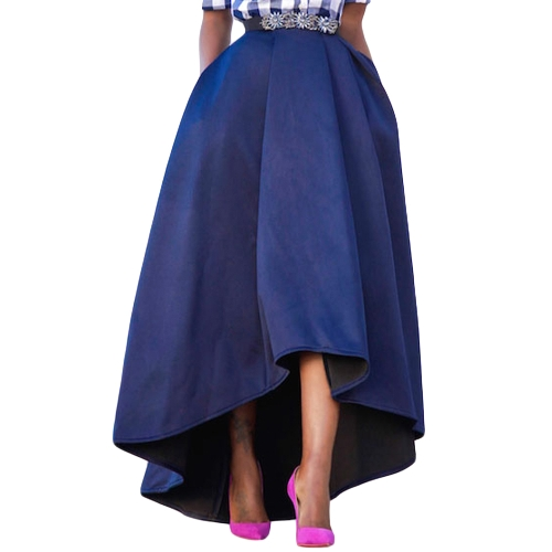 Nueva moda de invierno mujeres de cintura alta falda plisada Midi alta Color sólido una línea Skater Swing falda