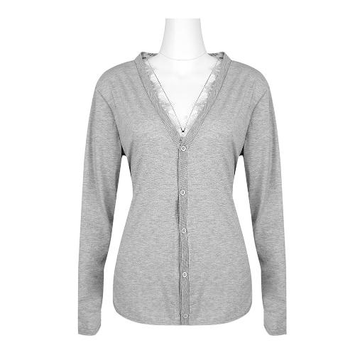 Otoño Cardigan Mujeres con cuello en V mangas largas Empalme de encaje Botón suelto Abrigo fino Sólido Abrigo cálido Gris / Negro