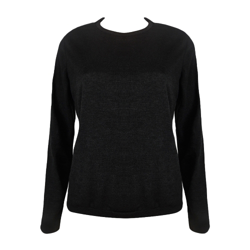 Frauen Stricken Pullover Lace Up Backless Oansatz Langarm Spitze Patch Pullover Casual Tops Schwarz / Grau