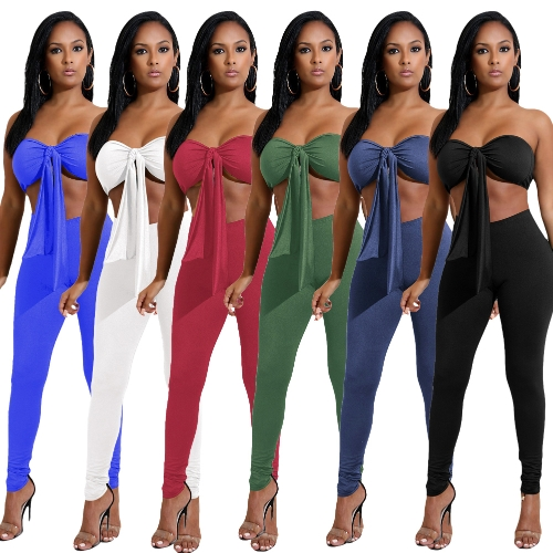 Sexy Women Two-piece Set Strapless Crop Top Bandage Bodycon Long Pants Solid Slim Party Club Suits