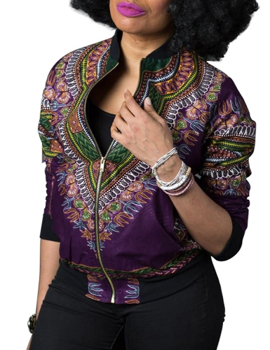 Bomber Jacket Vintage Print Long Sleeve Zipper Outerwear Casual Short Jacket Coat
