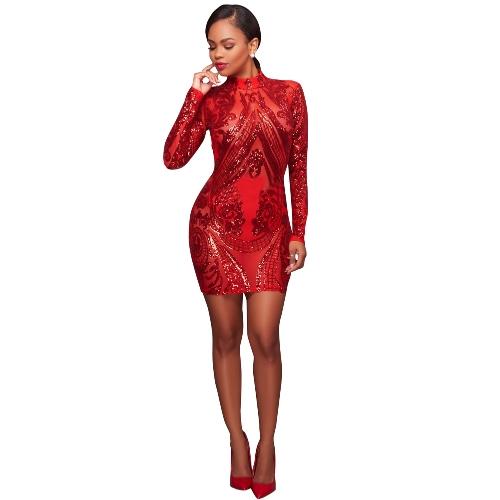 Vestido de lentejuelas espumoso de las mujeres atractivas mangas largas Bodycon camisón noche de cóctel Mini vestidos