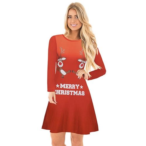 Vestido de Navidad de otoño invierno mujer Dibujos animados de reno de Santa vestido de Navidad mangas largas de copo de nieve