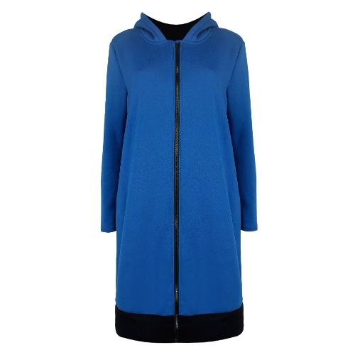 Mujeres sudaderas con capucha larga capa de contraste bolsillos ocasionales cremallera prendas de vestir exteriores sudaderas con capucha chaqueta