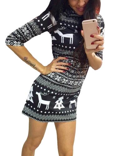 Nouveau Femmes Automne Hiver Mini Robe De Noël Imprimer Santa Renne Arbre Flocon de neige Casual Xmas Dress Rouge / Noir