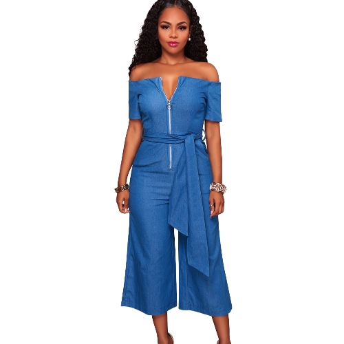 Mulheres Off Shoulder Wide Leg Jumpsuit Slash Neck Zipper Front Belted High Waist Playsuit Rompers Denim Jeans