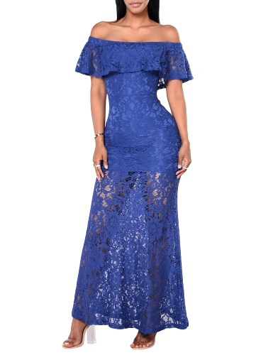 Nowa seksowna damska sukienka z kwiecistej koronki potargane Off Shoulder Slim Bodycon sukienka maxi długi koktajl żółty / Royal Blue