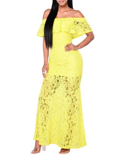 Nuevo vestido de encaje floral de mujer sexy con volantes hombro delgado vestido largo de cóctel Maxi Bodycon amarillo / azul real