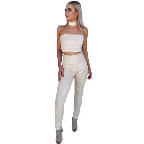 Sexy Women Faux Suede Leggings Sólido Zipper High Waist Skinny Pants Tights Slim Bodycon Lápis Calças