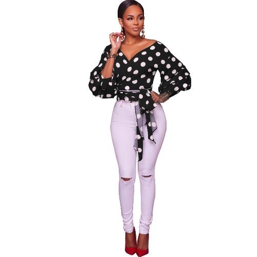 Neue Mode Frauen Casual Strickjacke Dot Tribal Print Schicht Laternehülse V-ausschnitt Bluse Tops Schwarz / Weiß