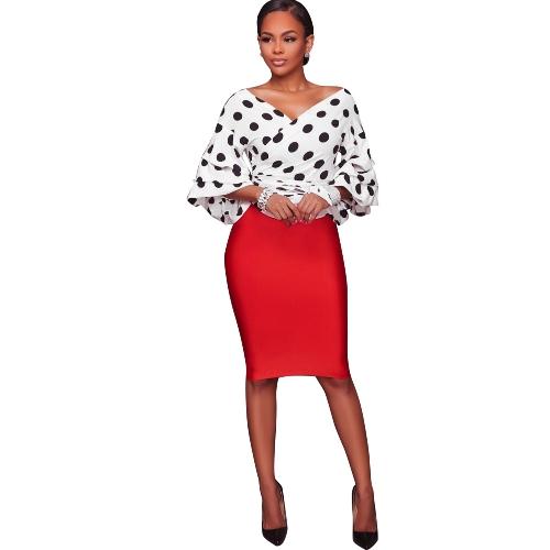 Nuevas mujeres de moda Cardigan Casual Dot Tribal Print Layer manga de la linterna con cuello en V blusa Tops negro / blanco