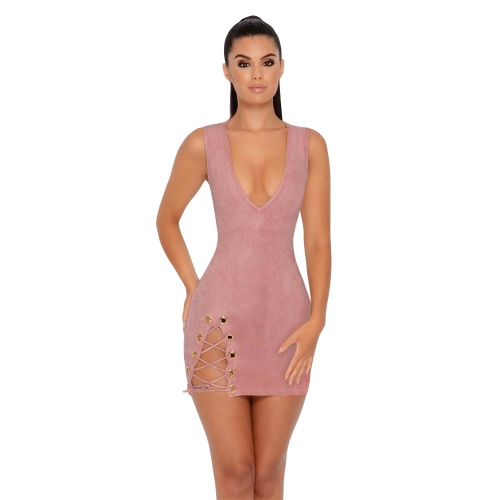 Mini vestido sin mangas del partido de las mujeres atractivas del ante cordón con cordones sin mangas del partido del club nocturno del lápiz labial