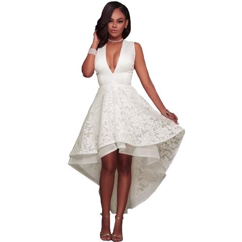Frauen High Low Saum Abendkleid Bestickte Spitze Tiefem V-ausschnitt Sleeveless Cocktail Party Prom Kleider Kleid