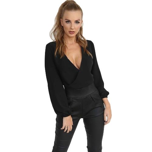 Sexy Frauen Bluse mit langen Ärmeln V-Ausschnitt Bandage Feste Beiläufige Elegante Crop Top Shirt