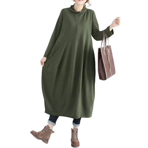 Vestido de gran tamaño de las mujeres Vestido de tamaño grande del soporte recto Collar de manga larga Vestido suelto de la oficina sólida