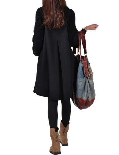 Mujeres de moda abrigo de cuello alto de cuello alto botón de la manga de invierno gruesa prendas de abrigo gabardina abrigo negro / gris / rojo