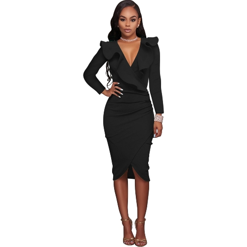 Sexy Women Ruffle Dress V Neck Criss Cross Pencil Party Nightwear Bodycon Slim Midi Club Dress