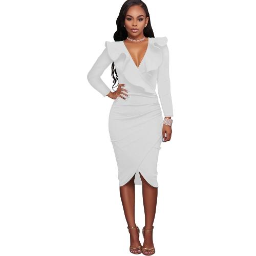 Vestido de volantes de las mujeres atractivas con cuello en V Criss Cross lápiz partido ropa de noche Bodycon Slim Midi Club vestido