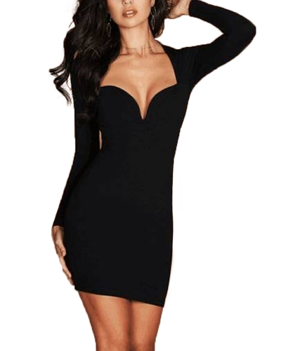 Nueva Sexy Mujeres Deep V cuello de manga larga Bodycon vestido Party Club Cocktail Mini vestido tubo