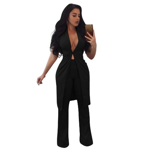 Frauen Zweiteilige Set Lange Weste V-ausschnitt Sleeveless Flare Hosen Mantel Beiläufige Hosen Feste Outfit Oberbekleidung