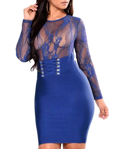 Las mujeres atractivas escarpadas de encaje floral del vestido de manga larga vendaje delgado Bodycon vestido de fiesta Clubwear negro / azul oscuro / rojo