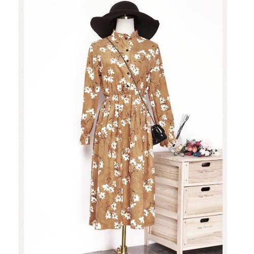 Las nuevas mujeres del invierno del otoño imprimen el vestido del cordón de la cintura elástico del soporte de la manga larga de pana