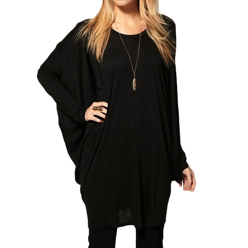Chic Women Over Size T-Shirt Camiseta de manga comprida Batwing manga comprida Tops Black / Grey