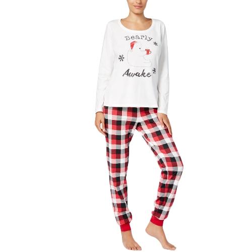 Новые женщины из двух частей Pajama Christmas Sleepwear O-образным вырезом с длинными рукавами повседневный дом топы брюки белый