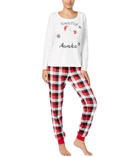 New Women Two-Piece Set Pajama Natal Pijamas O-Neck Manga comprida Casual House Tops Calças Branco