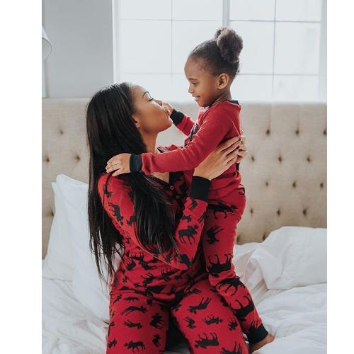 Женщины Рождество Посмотрите семьи пижама оленей печатной одежды пижамы пижамы семьи Соответствующие одежды Отец матери малыша футболки брюки набор красный