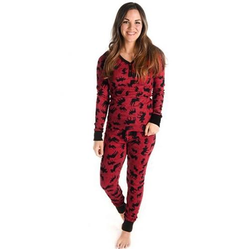 Kobiety Boże Narodzenie Family Look Pajama Set Reindeer Printed Bielizna nocna Piżamy Family Matching Outfit Father Mother Kid T-Shirt Spodnie Set Red