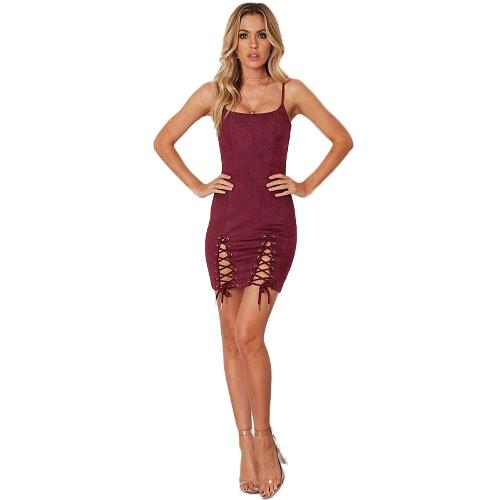 Vestido de fiesta con cordones sin mangas para mujer Vestido sin mangas con correa de espagueti sin cordones Cami Bodycon Mini vestido de fiesta