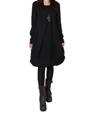New Autumn Women Casual Loose Baggy Vestido Midi O Neck Mangas compridas com sobresta Bolsos assimétricos