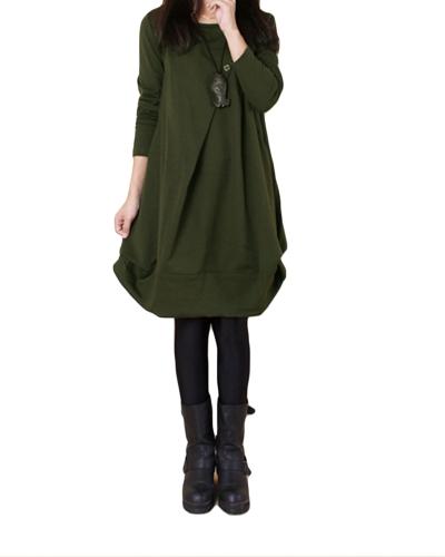Neue Herbst Frauen Beiläufige Lose Baggy Midi Kleid O Hals Langarm Übergroßen Taschen Asymmetrische Kleid