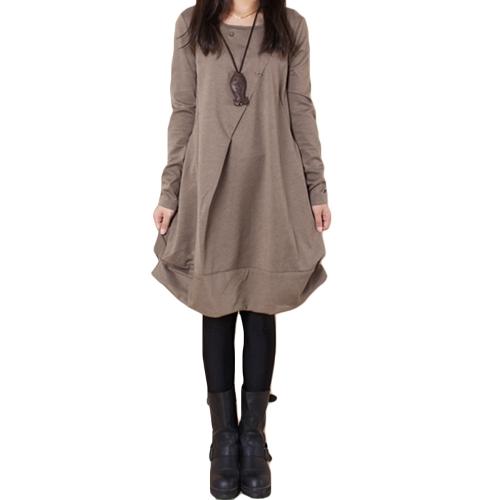 Vestido asimétrico holgado casual de manga larga con cuello en V para mujer casual de otoño o cuello asimétrico