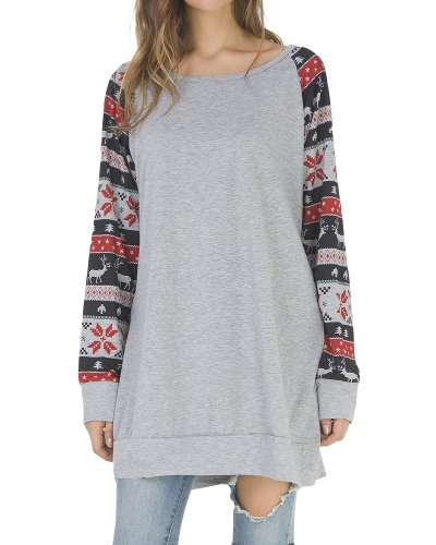 Mujeres de la manera de la impresión de la raya de ciervos de la camiseta de la manga del o cuello que empalman la camiseta ocasional de la camiseta larga superior de la túnica