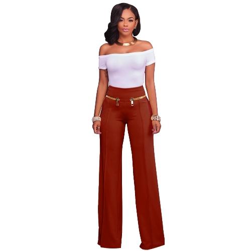 Pantalones ocasionales de las mujeres Pantalones rectos de la pierna Cremallera de la cintura alta Pantalones del desgaste del trabajo OL SOLO