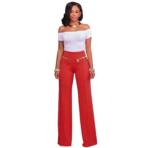 Women Casual Zipper Solid PantS