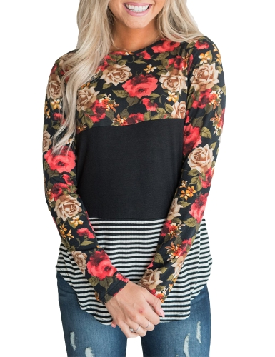 Moda Mulheres Blusa Floral Striped Print Long Sleeve O-Neck Casual Slim T-Shirt Tops Camisas Preto